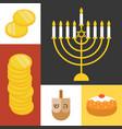 hanukkah icons set flat design vector image