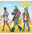 Happy people with shopping bags vector image vector image