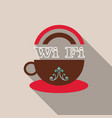 icon of a cup of coffee with wifi symbol vector image