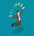 isometric businessman big pile dollars in a bank vector image vector image