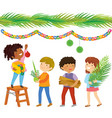 kids preparing for sukkot vector image