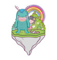 little fairy with monster in the field and rainbow vector image