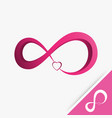 logo infinity with heart love on white background vector image vector image