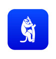 macaque on a tree icon digital blue vector image