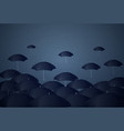 many umbrellas under rain storm business problem vector image