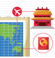 map and chinese architecture with icons travel vector image vector image