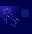 map italy from the contours network blue luminous vector image vector image