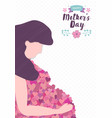 mothers day card pregnant mom with love heart vector image