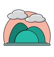 mountains landscape icon vector image