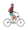 old man cyclist elderly on bike with vector image vector image