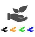 organic supplement hand flat icon vector image