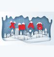 paper art style village in winter season vector image