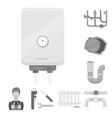 plumbing fitting monochrome icons in set vector image vector image