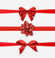 red christmas ribbon bow set for holiday season