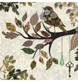 retro background tree branch with leaves and vector image vector image