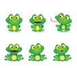 Set Green Emotional Frogs vector image