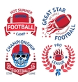 Set of american football labels with burning ball vector image vector image