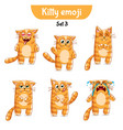 set of cute cat characters set 3 vector image vector image