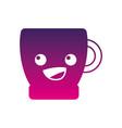 silhouette happy coffee cup kawaii cartoon vector image vector image
