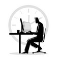 silhouette of a man working overtime vector image
