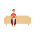 single man sitting on couch with popcorn cartoon vector image