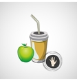 sketch paper cup with straw and apple vector image vector image