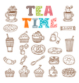 Tea time Hand drawn tea and desserts vector image