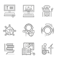 Thin line style distant education icons vector image vector image