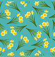 yellow daffodil - narcissus seamless on blue teal vector image vector image