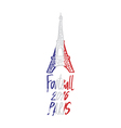 Hand drawn concept logo with Eiffel Tower for the vector image