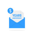 5 years anniversary icon in letter vector image
