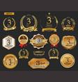 anniversary golden laurel wreath and badges 3 vector image vector image