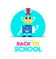 back to school funny art supplies friends design vector image vector image