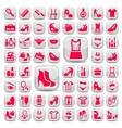 big red fashion icons set vector image