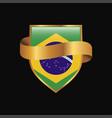 brazil flag golden badge design vector image