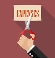 Businessman cutting expenses paper vector image