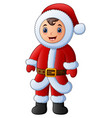 cartoon boy in red santa costume vector image vector image