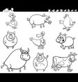 cartoon farm animals collection color book vector image vector image
