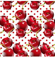 cherry pattern cherry fruits on dotted vector image vector image