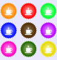 coffee icon sign A set of nine different colored vector image vector image