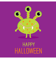 Cute cartoon green monster Happy Halloween card vector image