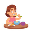 cute girl eating hungry toddler sits at vector image vector image
