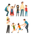 dads playing with their children set fathers vector image vector image