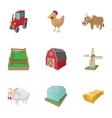 Farmhouse icons set cartoon style vector image vector image