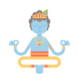 Flat meditating cartoon Krishna character vector image