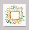 golden frame and leafs wreath vector image vector image