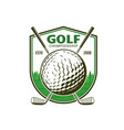 golf sport icon with crossed clubs emblem vector image
