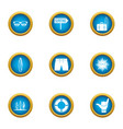 great tour icons set flat style vector image