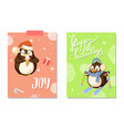 happy holidays and joy card with penguin vector image vector image