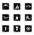 Holiday in Miami icons set grunge style vector image vector image